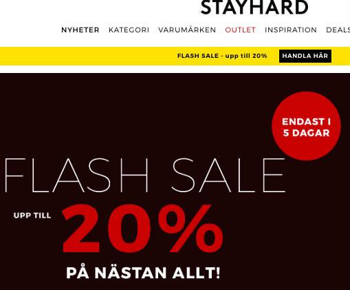 Få 20% hos Stayhard innan torsdag
