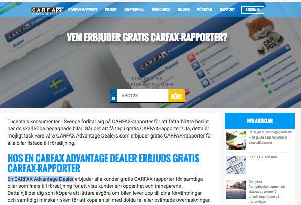 Gratis Carfax